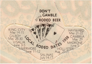 rear of 1939 Rodeo Beer label - image