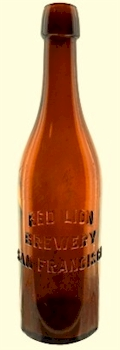 Red Lion Brewery pint bottle, ca.1904