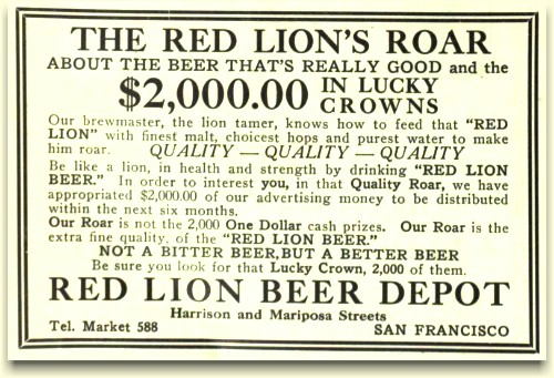 Red Lion Beer Depot ad, ca.1912