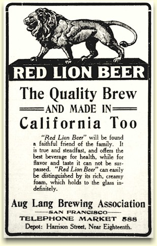 Red Lion Beer ad, June 1912