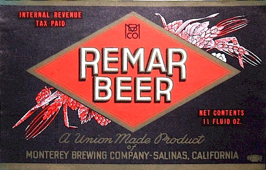 Remar Beer label, IRTP c.1938 - image