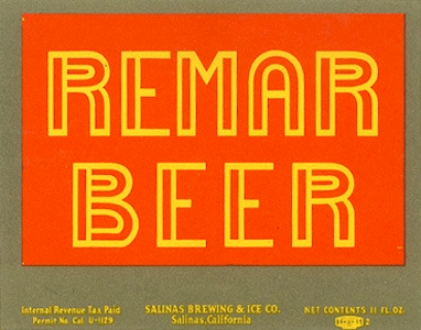 Remar Beer label, c.1935 - image