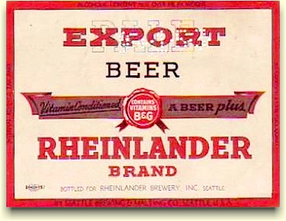 Rheinlander Brewery, Inc. beer label