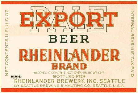 Rheinlander Beer label c.1938 - image