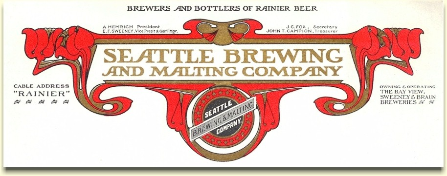 Seattle Brewing and Malting letterhead c.1900