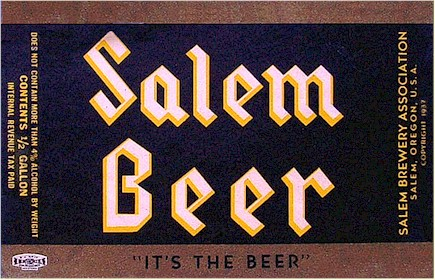 Salem Beer label ca.1937