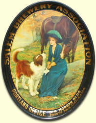 Salem Brg. Assn. oval beer tray - blue dress, horse & dog