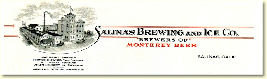 Salinas Brewing & Ice Co. letterhead - image