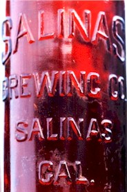 Embossed Salinas Brg. Co. qt. beer bottle