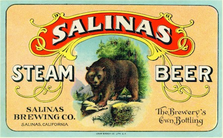 Salinas Steam Beer label, ca.1900