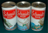 Set of three Schmidt Beer cans from the Rainier Brg. Co.
