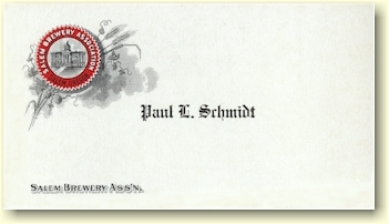 Calling card of Paul L. Schmidt, Salem Brg. Ass'n. - image