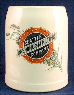 Seattle Brg. & Mltg. beer stein by Mettlach, c.1900 - image