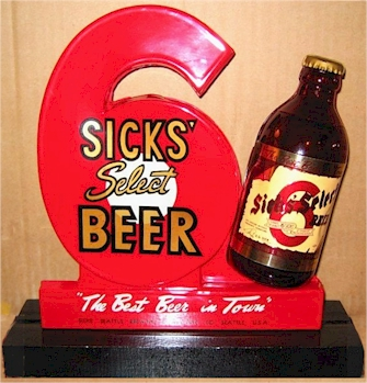Sicks' Select back-bar display, c.1945
