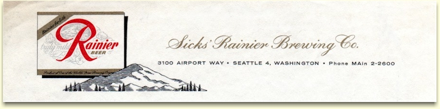 Sicks' Rainier Brewing Co. letterhead, c.1963