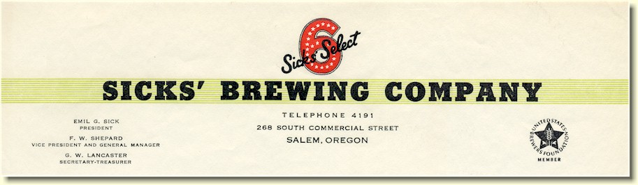 Sicks' Brewing Co. letterhead, c.1946 - image