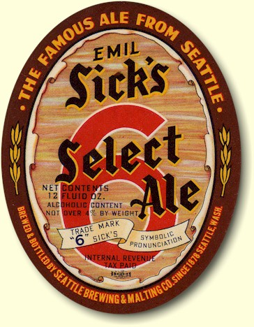 Sick's Select Ale label, ca.1941