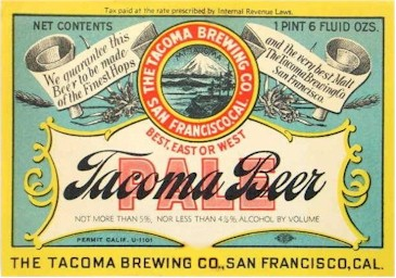 Tacoma Pale Beer label 22 oz