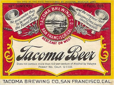 Tacoma Pale Beer label 11 oz