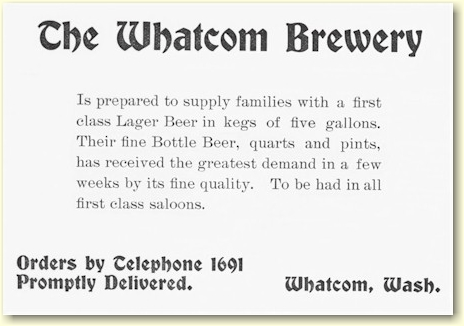 Whatcom Brewery ad 1900 - graphic