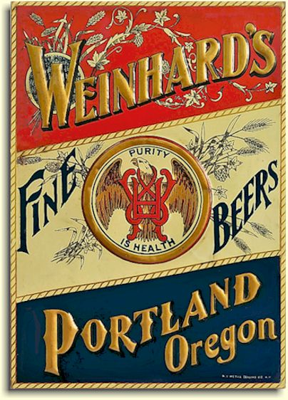 Weinhard's Fine Beers, Portland, Oregon, tin sign