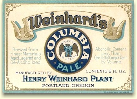 Weinhard plant near-beer label - Columbia Pale