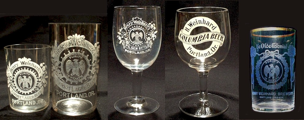Five Weinhard etched glasses