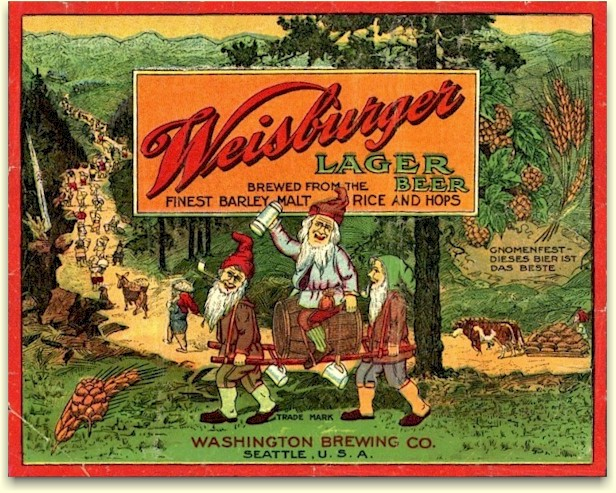 Weisburger Lager Beer label ca.1914