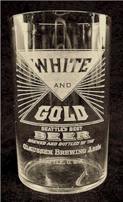 Claussen's White & Gold Beer glass, c.1912 - image