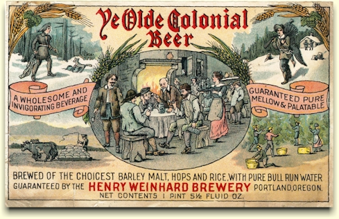 Ye Olde Colonial Beer label, c.1914
