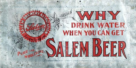 Aluminum Salem brewing Assn. sign