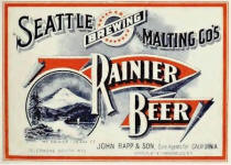 early Rainier Beer label Rapp & Son SF