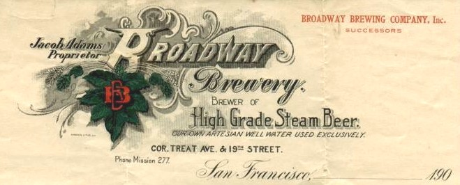 Letterhead for Broadway Brewery, San Francisco - image