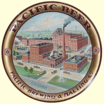 Pacific Beer - factory scene beer tray