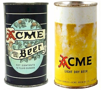 Two Acme FT beer cans - 1948 & 1950